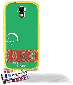 """Carcasa Flexible Ultra-Slim SAMSUNG GALAXY S4 de exclusivo motivo [Turkmenistan Bandera] [Amarillo] de MUZZANO  + 3 Pelliculas de Pantalla """"UltraClear"""" + ESTILETE y PAÑO MUZZANO REGALADOS - La Protección Antigolpes ULTIMA, ELEGANTE Y DURADERA para su SAMSUNG GALAXY S4"""