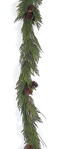 Pack of 4 Going Green Artificial Cedar and Pinecones Christmas Garlands 6' by CC Christmas Decor (Image #1)