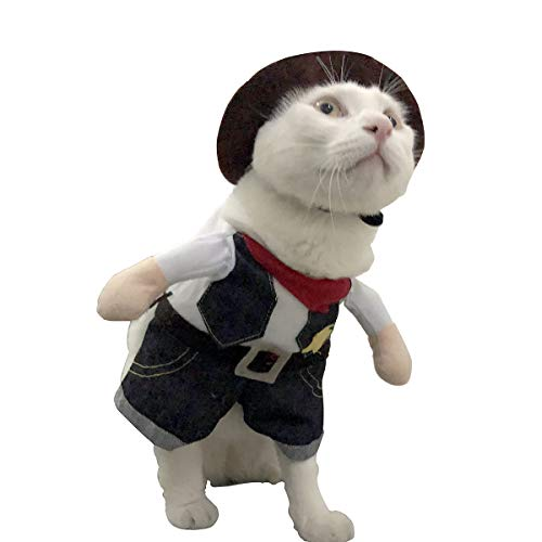 Pet Dog Cat Clothes Costumes, Funny West Cowboy Uniform with Hat, Feline Cute Jacket Outfit Clothing for Halloween Christmas Festival Party (M) -