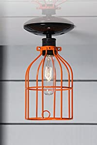 Orange Cage Light - Ceiling Mount Industrial Lighting - Black