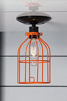 Orange Cage Light - Ceiling Mount Industrial Lighting - Black