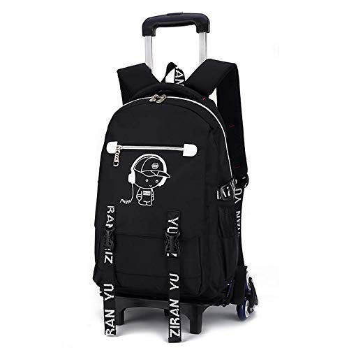 B BDMF Trolley-Schultaschen Rucksack Zum Jungs Mit Sechs Räder Treppen steigen Schule Rucksack mit Rädern, Handgepäck