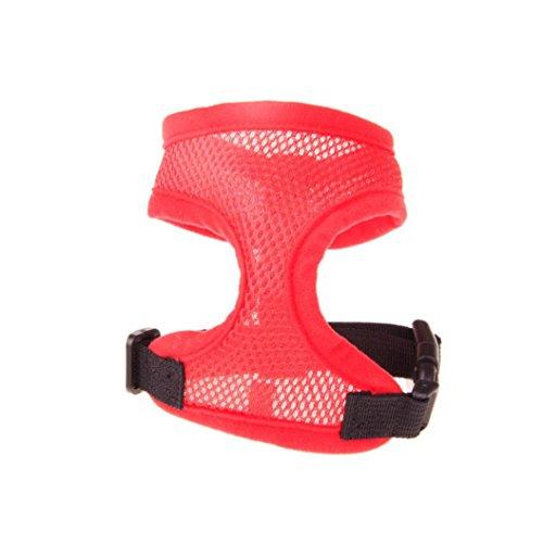 Teddy Adjustable Collar - Binmer(TM) Adjustable Comfort Soft Breathable Dog Harness Pet Vest Rope Dog Chest Strap Leash Set Collar (L, Red)