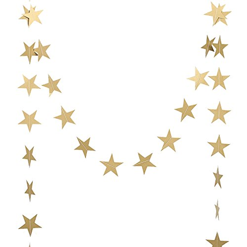 Ling's moment Star Garland Star Bunting Decorations, Paper Star Banner Hanggings for Wedding Birthday Party Baby Shower, Gold Christmas Decorations(Gold Iridescent Paper) -