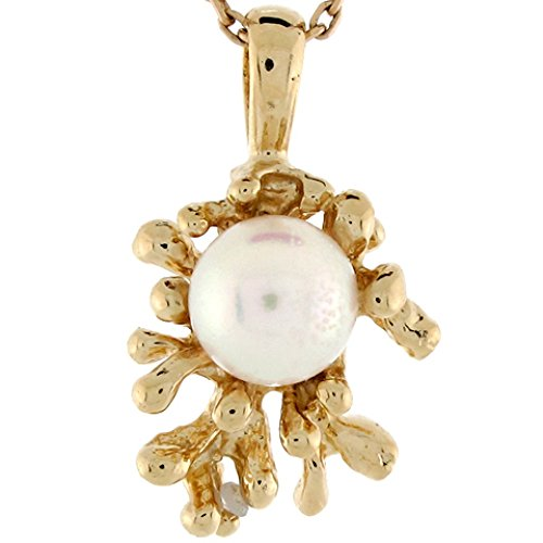 Jewelry Liquidation 14k Yellow Gold Cultured Pearl Solitaire Coral Reef Designer Ladies Pendant ()