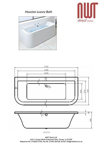 Houston 1700mm (L) x 750mm (W) x 400mm (D) Luxury Amanzonite Bow