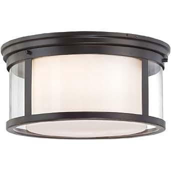 Quoizel WLS1615PN Wilson 3-Light 15-Inch Flush Mount Light, Palladian Bronze