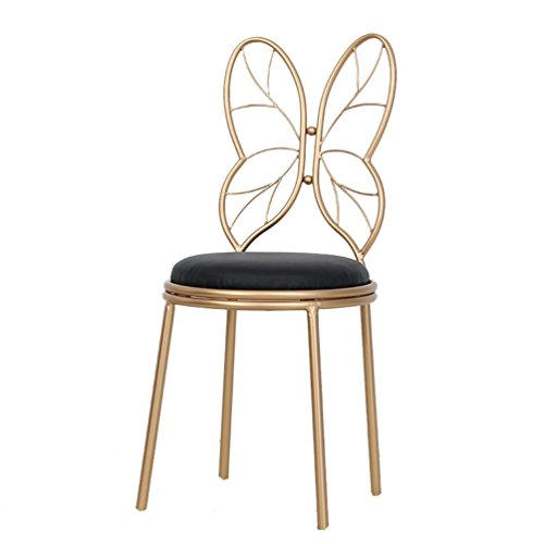 TLMY Nordic Style Simple Bow Makeup Chair Metal Back Chair Wrought Iron Stool, Height 85 / 115cm Chair (Color : Black, Size : 3885CM) -