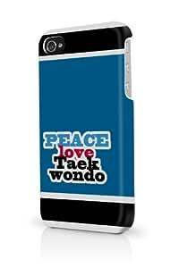 Blue Peace Love Taekwondo iPhone 4 Case Fits iPhone 4 & iPhone 4S Full Print Plastic Snap On Case