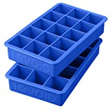 Tovolo Perfect Cube Ice Trays, Sturdy Silicone, Fade Resistant, Capri Blue, 1-1/4 Inch Cubes - Set of 2