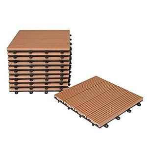 WPC grau 4er Holzoptik HORI/® Terrassenfliesen WPC I Klick Boden-Fliesen aus Kunststoff in Holzfliesen Optik I Modell
