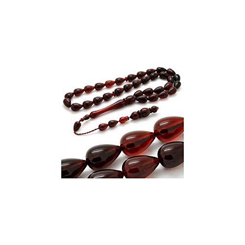 - LaModaHome Muslim Prayer Beads%100 Natural Stone & Red-Black & Drop Shaped - 33 Beads - Amber Stone & Decorated Tassels Made in Turkey & Tasbih & Muslim Rosary & Islamic Gift