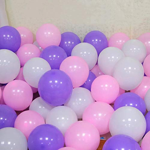 (12'' Thicked Balloons (Pink &Purple &White) Wedding Party Decorations Latex Round Balloon 100/pack)