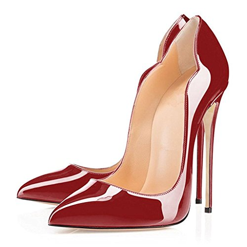 ELASHE Women High Heels Pumps | Pointed Toe Stiletto | 12cm Elegante Court Shoes Wine ETY8Li