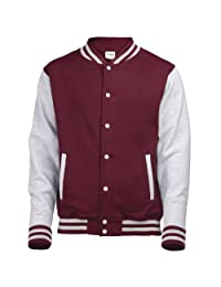 AWDis Hoods Varsity Letterman jacket Burgundy / Heather Grey L