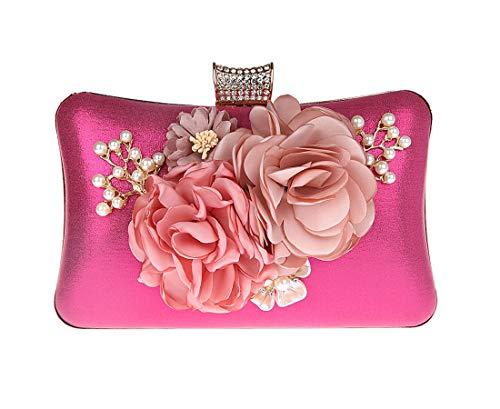 Rose Embrayage Femme rouge Soirée Main Keluosi Sac Pochette Fleur À I8BHnIqw17