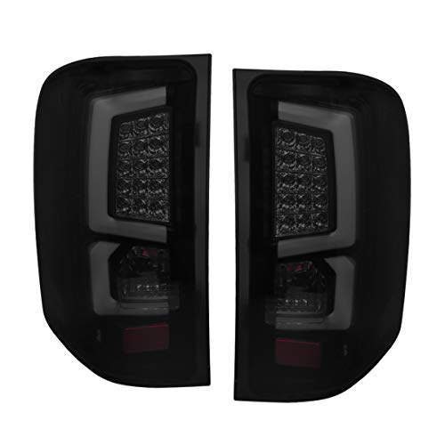 Fit 2008-2013 Chevy Silverado 1500 2500 3500 White C-Streak Led Tail Lights Black Housing/Smoked Lens ()