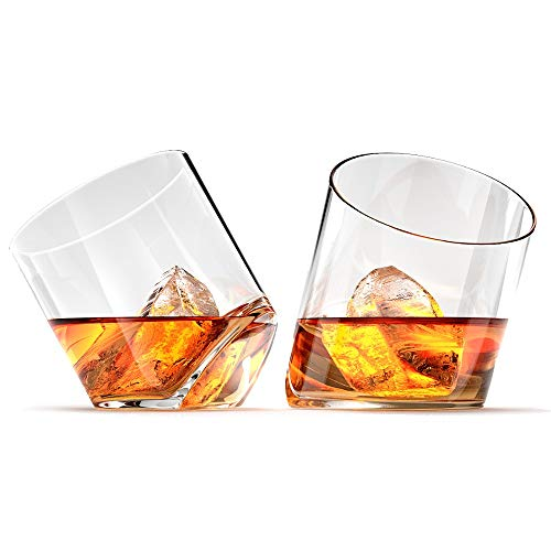 Ashcroft Rocker Whiskey Glass, Unique Tilting Tumblers for Drinking Scotch, Bourbon, Cognac, Large 10 oz Premium Lead Free Crystal Glass Tasting Cups Luxury in Gift Box (Glasses Tilted Drinking)
