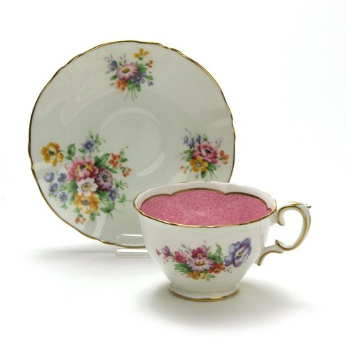 Cup & Saucer by Crown Staffordshire, China, Pink - Cup Saucer Staffordshire