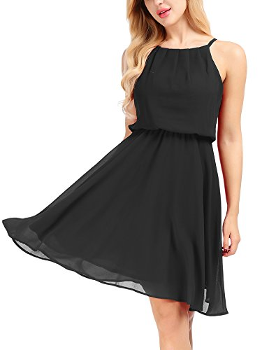 Uniboutique Women's Womens Double Layered Chiffon Mini Tank Dress - Black Chiffon Cocktail Dress