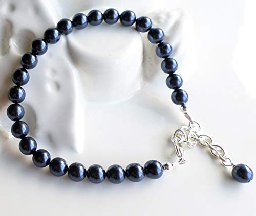 Dark Navy Blue Swarovski Pearl Classic Single Strand Bracelet