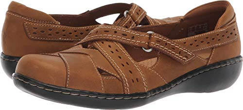 CLARKS Women's Ashland Spin Q Mary Jane Flat, Dark tan Leather, 095 N ()