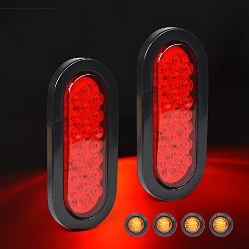 HQAP 6'LED impermeable ovalado rojo remolque luces – 22 LED trasera parada intermitente señal de freno marcador luz...