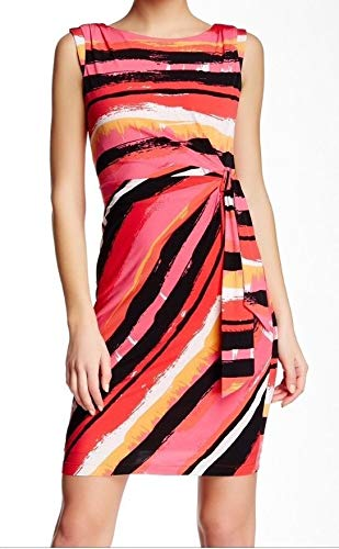 - Tahari By ASL Womens Belted Printed Faux-Wrap Dress