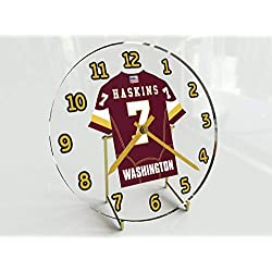 Football Team Desktop/Shelf Clocks - All N F L Colors Available - Size 7 X 7 X 2 Any Name Any Number Any Team !! (W A S Edition)