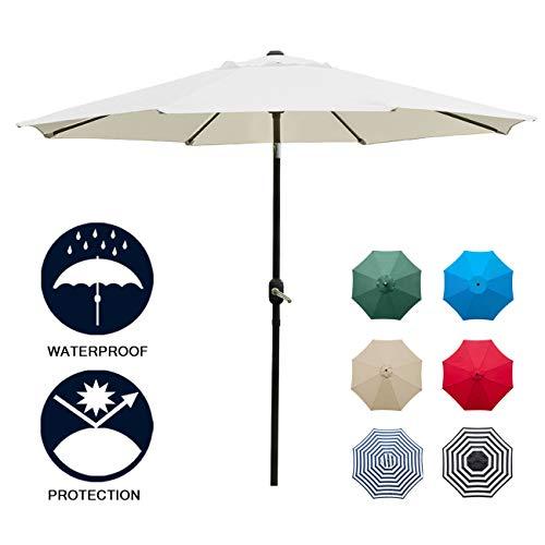 Sunnyglade 9' Patio Umbrella Outdoor Table Umbrella with 8 Sturdy Ribs (Beige) (Umbrella Beige Patio)