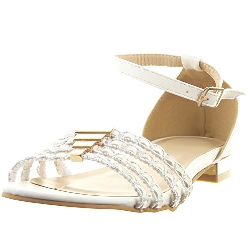 Sopily - Zapatillas de Moda Sandalias Caña baja mujer acabado costura pespunte metálico Líneas Talón Tacón ancho 1.5 CM - Blanco