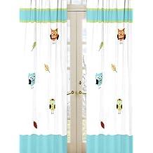 Sweet Jojo Designs 2-Piece Turquoise and Lime Hooty Owl Window Treatment Panels