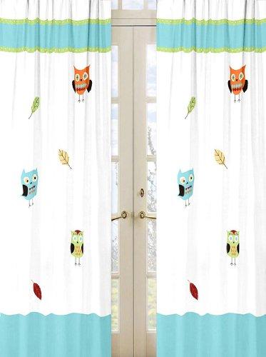Sweet Jojo Designs 2 Piece Turquoise And Lime Hooty Owl Window Treatment Panels