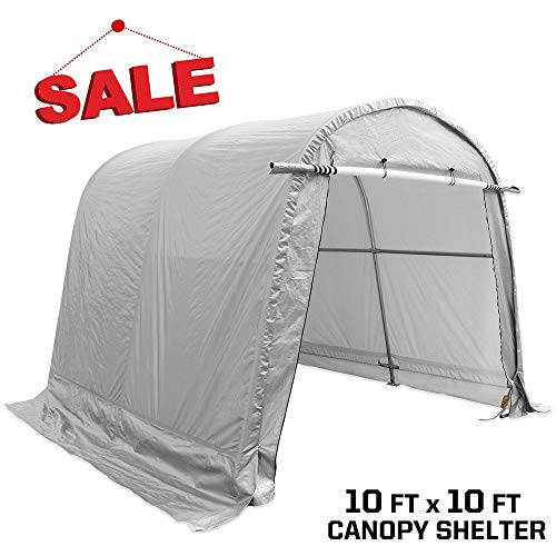 kdgarden Heavy Duty Portable Storage Shelter 10 x 10 - Feet Outdoor Canopy Garage Tent, with 6 Steel Legs and 4 U-Type Ground Stakes for Stability, Round Top Style, Gray with White Interior -