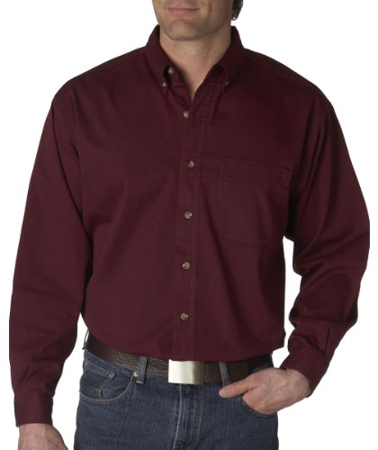 UltraClub Men's Long-Sleeve Cypress Denim with Pocket (Burgundy) (Large)