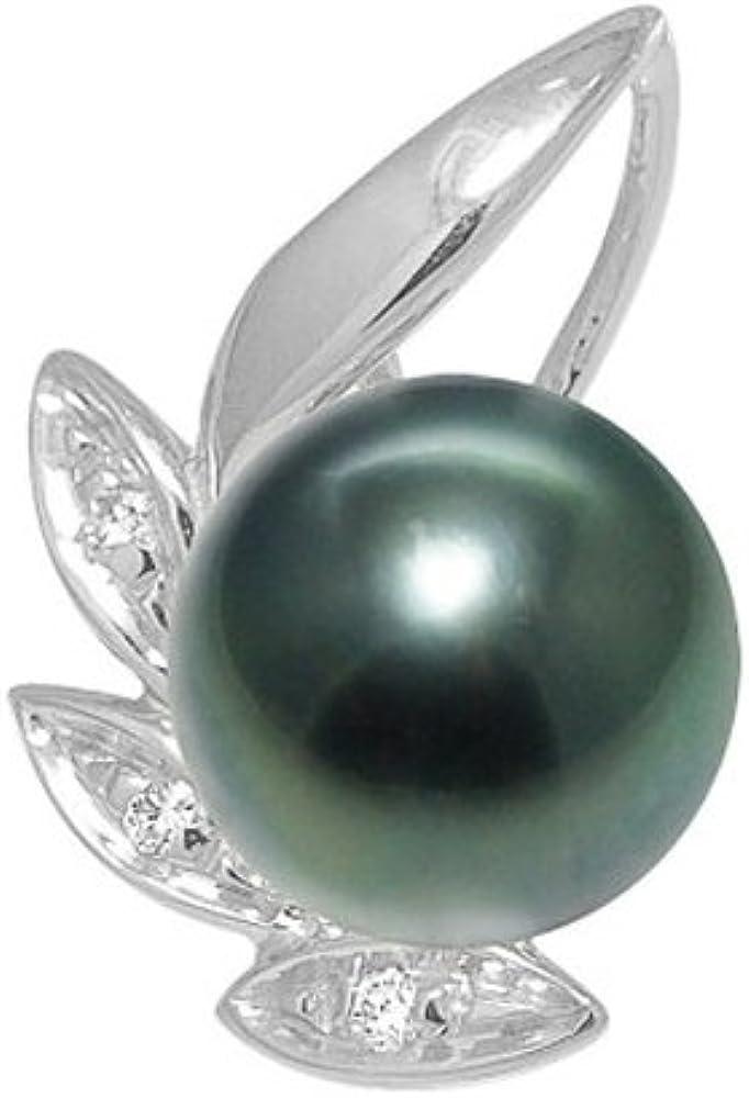 Colgante Perla de Tahiti, Diamantes y Oro Blanco 750/1000 - BPS K276 W - Blue Pearls