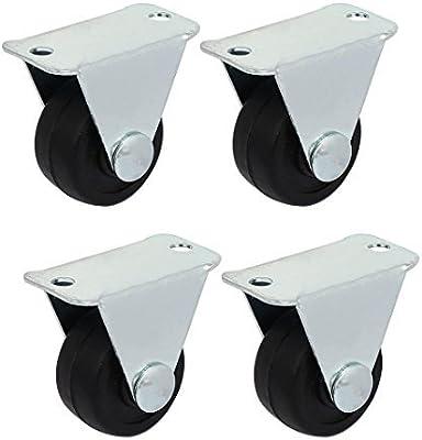 eDealMax 1 pulgadas Dia goma de la rueda Individual rígidos No giratorio Top placa fija 4pcs Ruedas