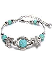 VWH Natural Turquoise Carved Butterfly Pendant Bohemian Women's Bracelet Jewelry (peadant)