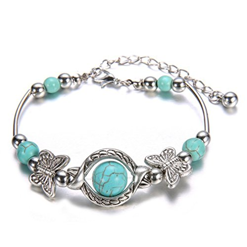 VWH Natural Turquoise Carved Butterfly Pendant Bohemian Women's Bracelet Jewelry