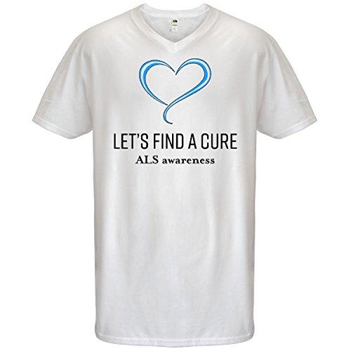 Cure Als T-shirts (inktastic - Let's Find a Cure- ALS Men's V-Neck T-Shirt X-Large White 30377)