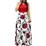 EOWEO Women Dress,2019d Women Summer Sleeveless Floral Printed Sundress Casual Swing Dress Maxi Dress(Small,Red)
