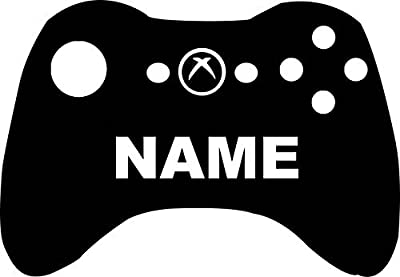 """Xbox Video Game Controller With YOUR Name 14"""" Custom BLACK VINYL Decal Art Wall Sticker Car USA"""
