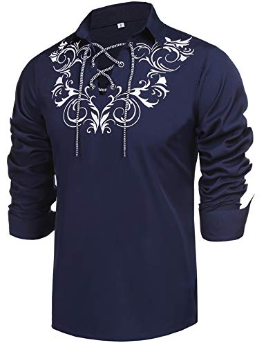 (Daupanzees Mens Lace-up Medieval Renaissance Pirate Costume Long Sleeve Shirt Navy Blue)