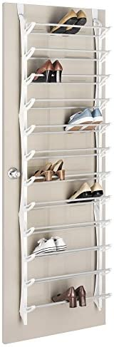 Whitmor Over the Door Shoe Rack - 36 Pair - Fold Up, Nonslip Bars