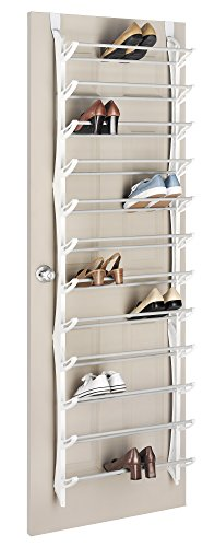 Whitmor Over The Non Slip Door Shoe Rack-36 Fold Up, Nonslip Bars, 36-Pair, White