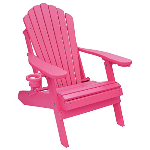 ECCB Outdoor Outer Banks Deluxe Oversized Poly Lumber Folding Adirondack Chair (Pink) ()