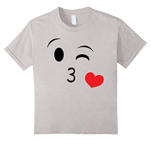 Kids Emoji Halloween Costume Heart Kiss Yellow Cute Birthday 4 Silver (Cute Halloween Cakes Birthday)