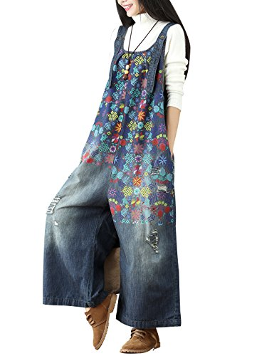 Yeokou Women's Loose Baggy Denim Wide Leg Jumpsuit Rompers Overalls Harem Pants (One Size US S-L, Style 13 Blue)