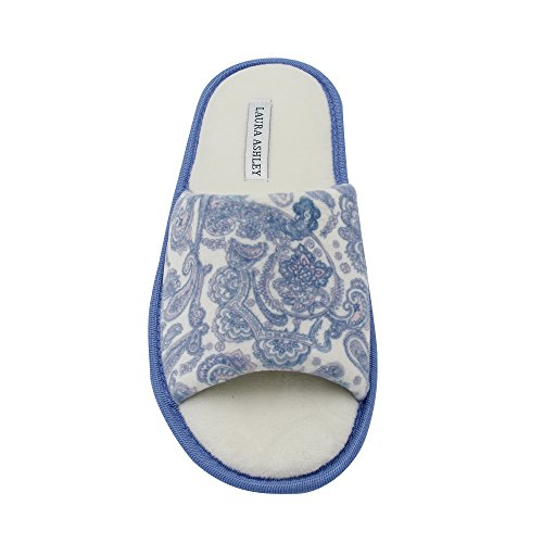 Foam Laura Printed Open Paisley with Insole Blue Ladies Slippers Memory Ashley Toe rq4Tfwr8