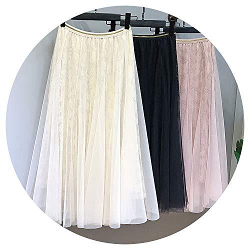 Summer-lavender Vintage Floral Tulle Lace Skirt Women high Elastic Waist Black Retro Chic mesh Girl Long Pleated Skirt